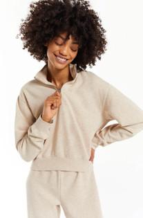 Half Zip Latte Sweatshirt