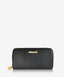 Large Zip Wallet - Black Embossed Python