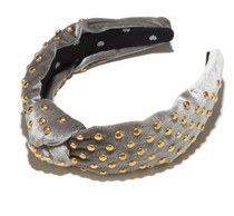 Amor Grey Velvet Studded Headband