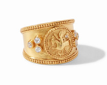 Coin Crest Ring - CZ - R144GCZ-7