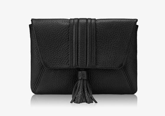 Ava Clutch - Black Pebble Leather