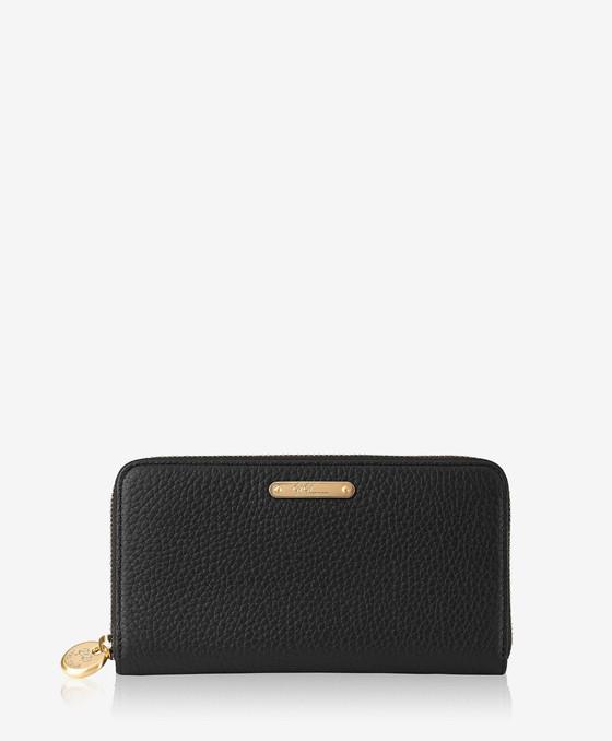 Large Zip Wallet - Black Pebble Grained Leather