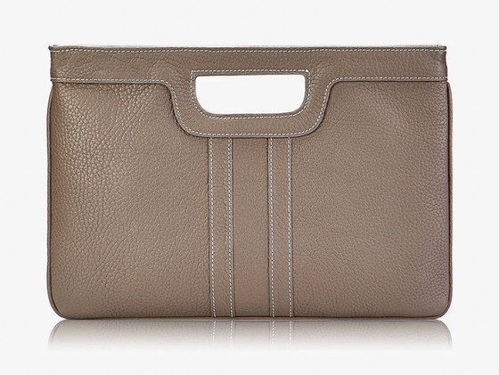Camilla Cut-Out Handle Clutch - Driftwood Leather