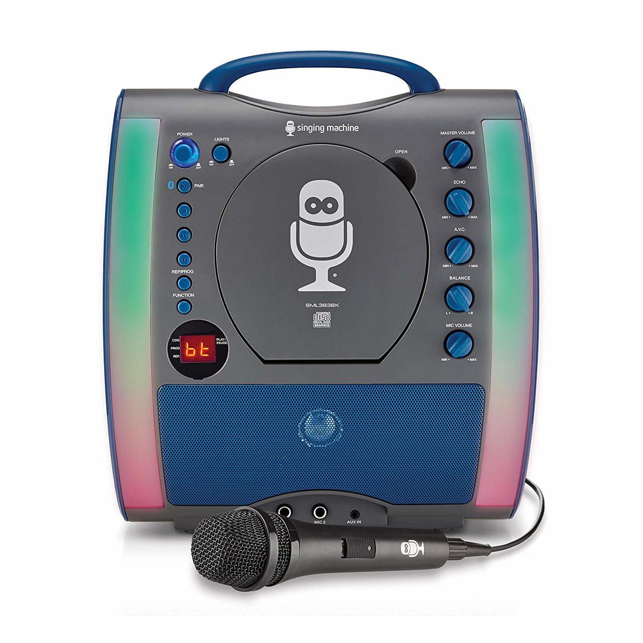 Singing Machine SML363BK CD Bluetooth Karaoke Machine Speaker With  Microphone