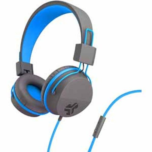 JLab Neon On Ear Wired Headphones Blue Graphite Tangle Free 3.5mm Mic Control