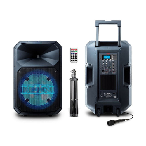 ION Audio Total PA Max Speaker 500 Watts with LED Lights Bluetooth USB SD MP3