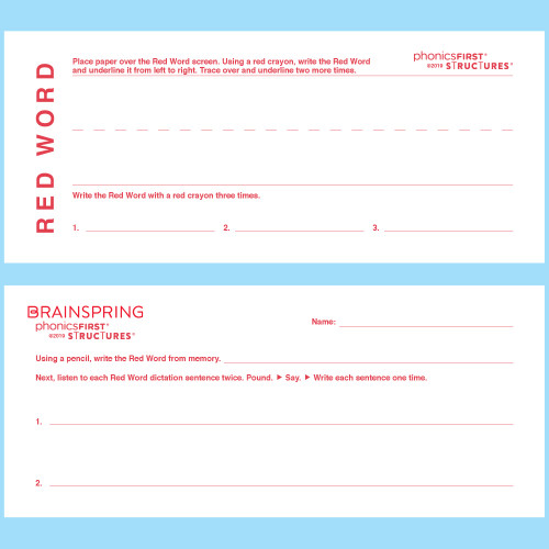 Student Red Word Strip Blanks (Pad of 30)