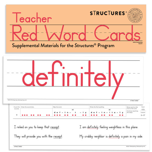 Teacher Red Word Cards (Structures Set)