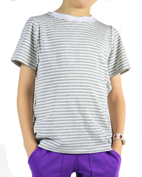 SIZE 6// Charlie Short Sleeve Shirt, White/Grey Stripes- Discontinued