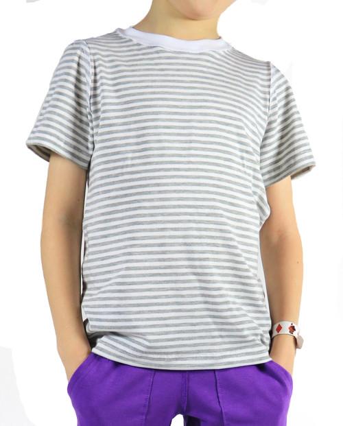 CHARLIE// Short Sleeve Shirt, White/Grey Stripes