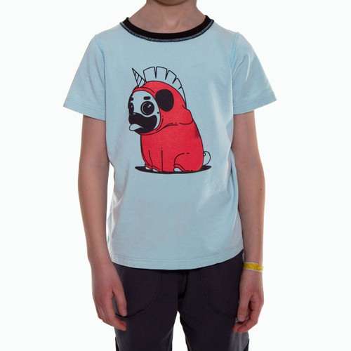 ELLIS// Short Sleeve Shirt, Blue with Pug