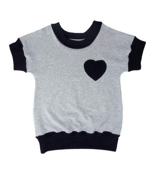 SIZE 2// Dolman shirt, grey with heart- Discontinued