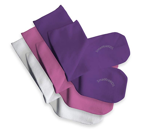 SmartKnitKIDS® Seamless Sensitivity Socks// 3-Pack, Whi+Pink+Purple