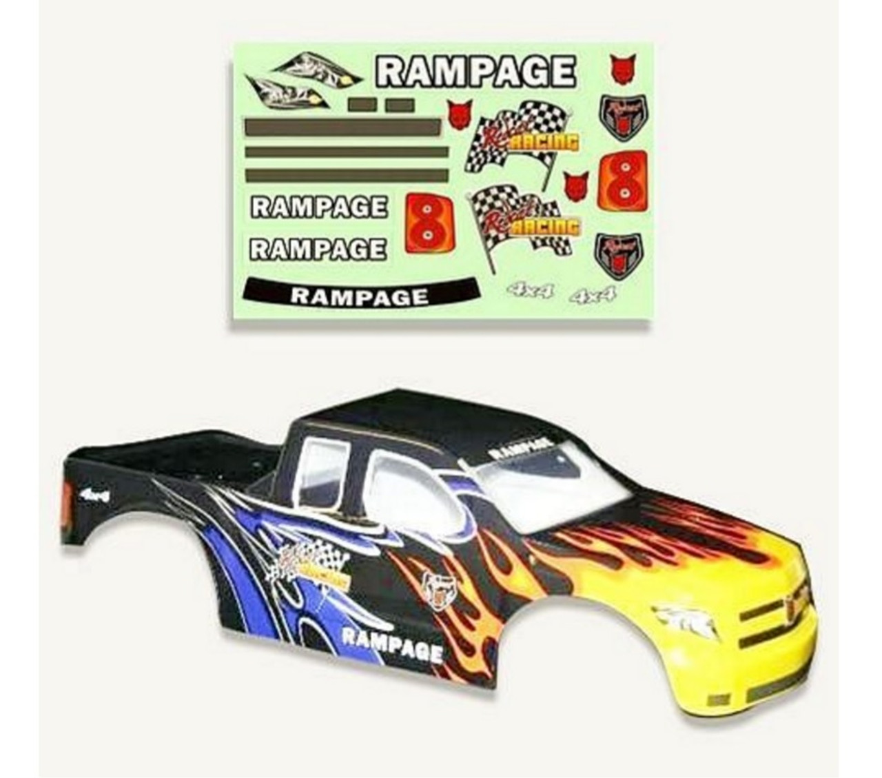 1/5 Rampage RC Truck Body Shell Black with Flames XT MT XT-E & MT PRO
