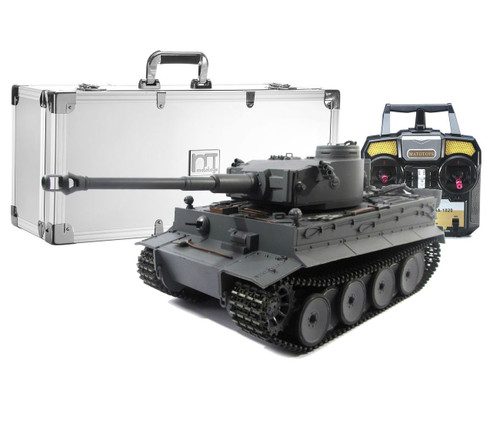 1/16 Mato German Tiger I RC Tank Airsoft 2.4GHz 100% Metal Grey with Aluminum Carrying Case