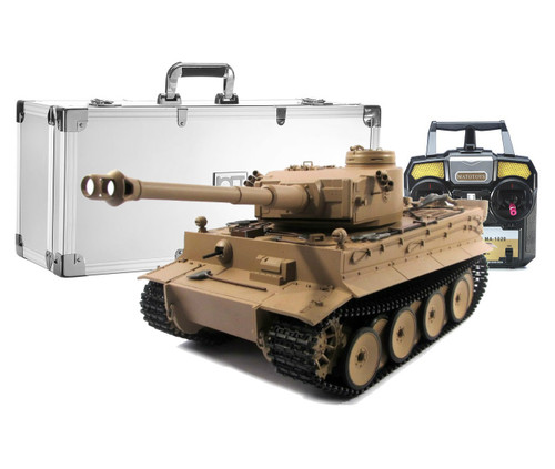 1/16 Mato German Tiger I RC Tank Airsoft 2.4GHz 100% Metal Desert with Aluminum Carrying Case