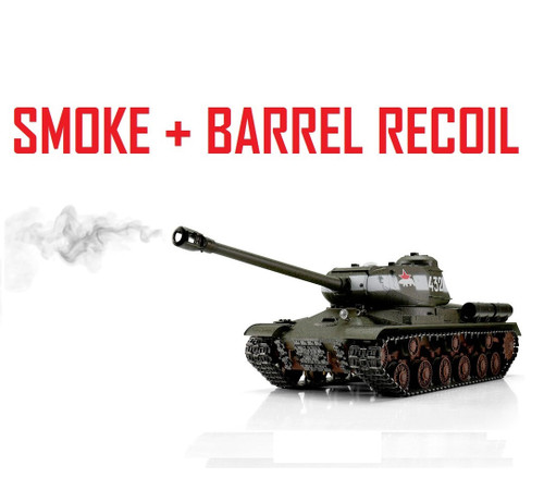 1/16 Torro Russian IS-2 RC Tank 2.4G IR Metal Edition PRO Green Smoke Barrel