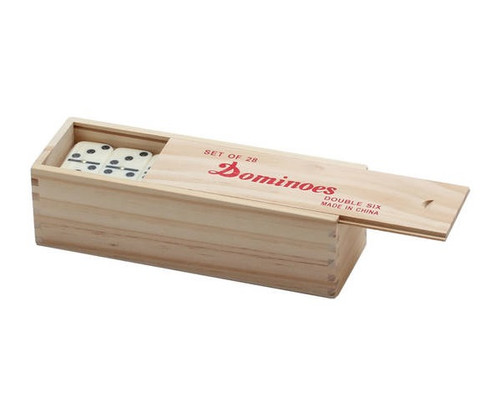 Dominoes Double 6 Jumbo Size Ivory Color with Spinners Wooden Case