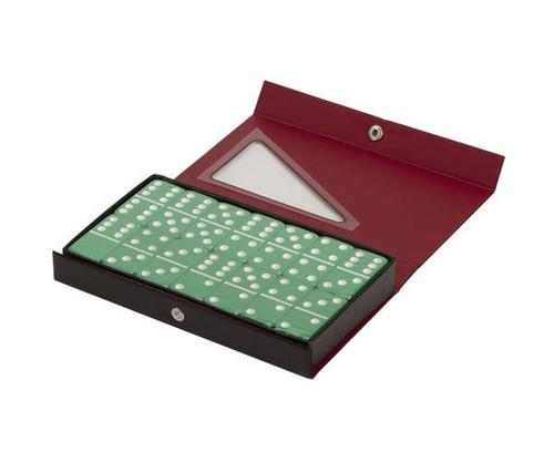 Dominoes Double 6 Jumbo Size Green Color Vinyl Case