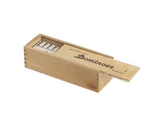 Dominoes Double 6 Jumbo Size Ivory Color Wooden Case with Spinners