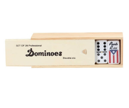 Dominoes Double 6 Professional Size White Color Wooden Case with Spinners Puerto Rico