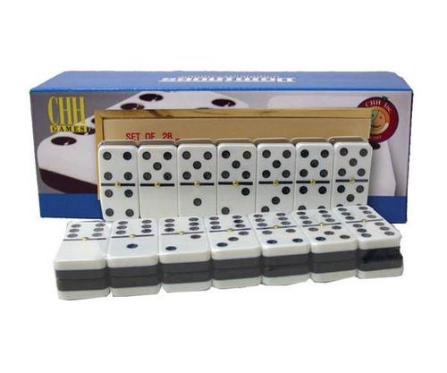 Dominoes Double 6 Jumbo Size Black & White Wooden Case