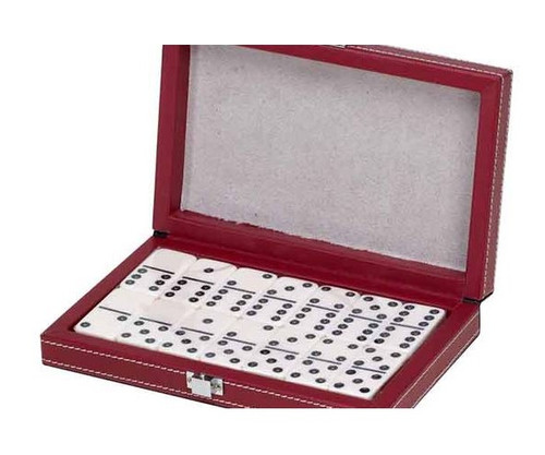 Dominoes Double 6 Standard Size Ivory Color in Leatherette Case