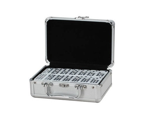 Dominoes Double 9 Jumbo Size Black & White Aluminum Case