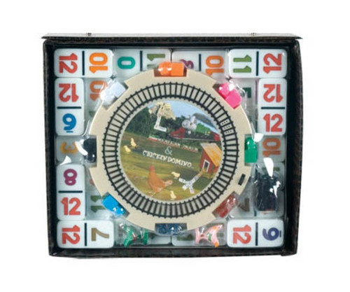 Dominoes Double 12 Professional Size Color Number & Hub Mexican Train in Vinyl Case