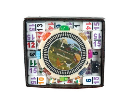 Dominoes Double 15 Professional Size Color Number in Vinyl Case Mexican Train