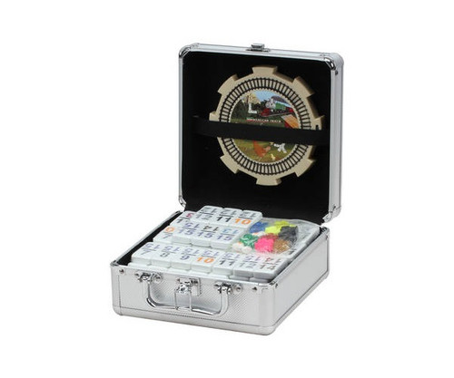 Dominoes Double 15 Professional Size Color Number Mexican Train in Aluminum Case