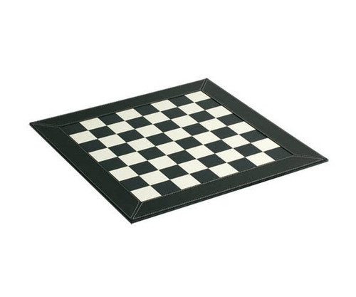 """18"""" Black & White Leather Chess Board"""