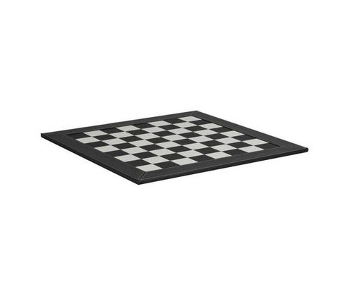 """21"""" Black & White Leather Chess Board"""