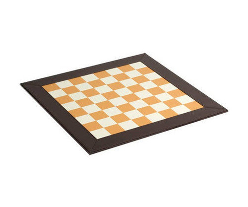 """18"""" Brown & White Leather Chess Board"""