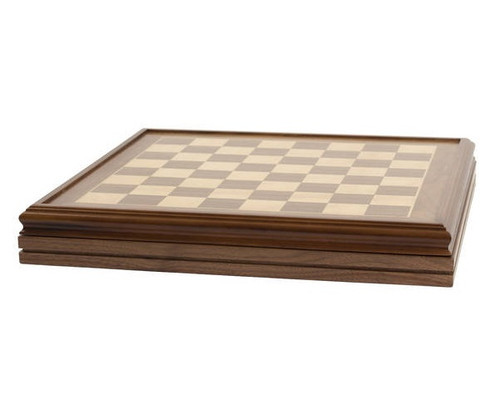 """22"""" Deluxe Walnut Chess Board with Checker Pieces"""