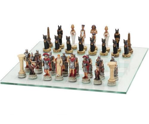 Roman vs Egyptian Empire Polyl Chess Set