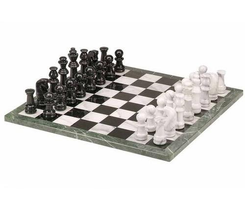 "16"" Black & White Marble Chess Set"