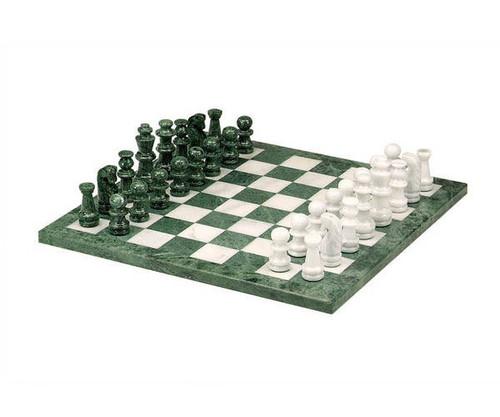 "16"" Green & White Marble Chess Set"