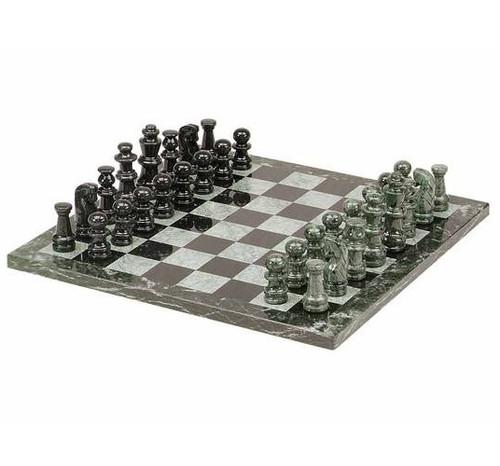 "16"" Green & Black Marble Chess Set"