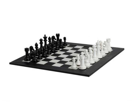 Deluxe Black & White Leatherette Chess Set