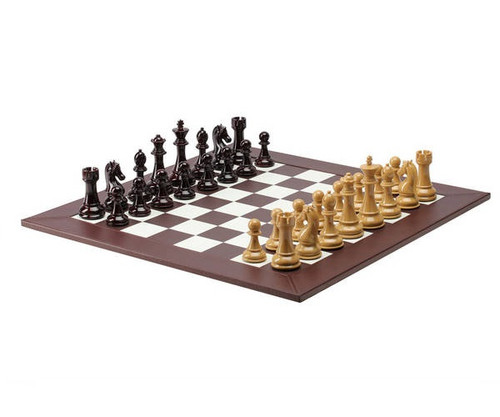 Deluxe Brown & Burgandy Leatherette Chess Set