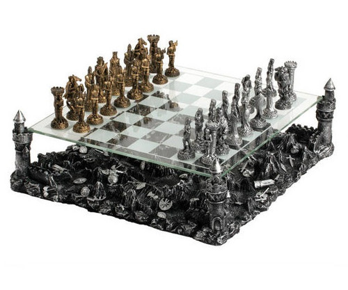 Medieval Knight Chess Set with Castle Platform