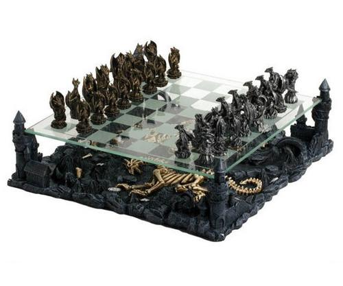 Medieval Dragon Chess Set with Castle Platform