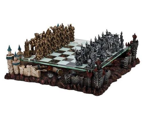 Fantasy Chess Set with Castle Platform