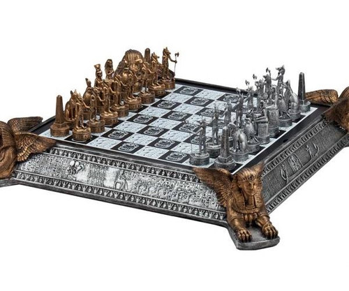 Gold & Silver Egyptian Chess Set with Decorative Chessboard