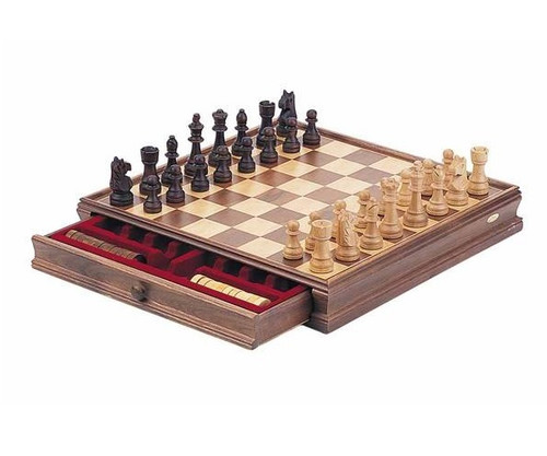 """15"""" Classic Wooden Chess & Checkers Set"""
