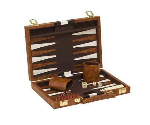 "11"" Vinyl Brown & White Backgammon"