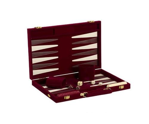 """18"""" Burgundy Velvet Backgammon"""