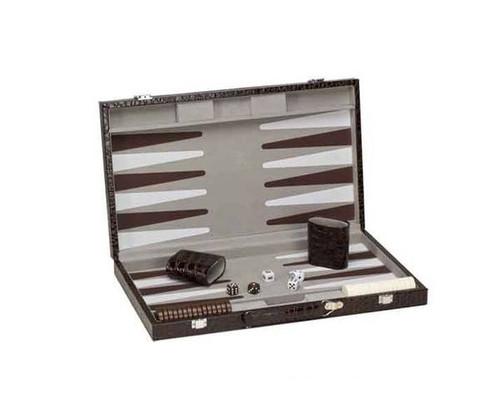 "18"" Deluxe Alligator Leatherette Backgammon"
