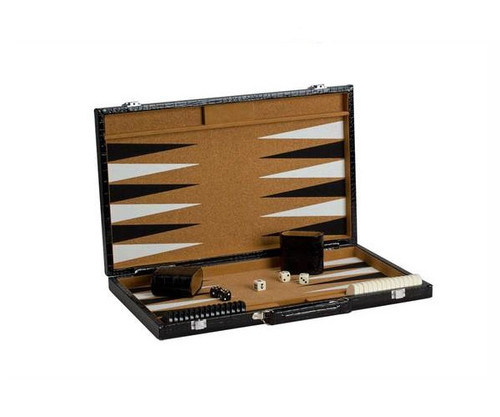 "18"" Cork Alligator Leatherette Backgammon"